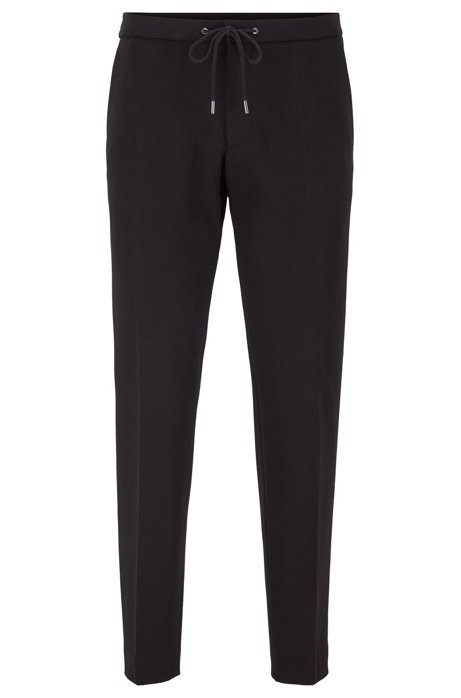 Slim-fit trousers in stretch fabric with elasticated waist, Black
