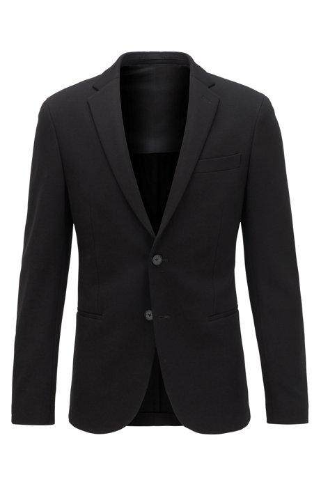 Slim-fit jacket in stretch jersey, Black