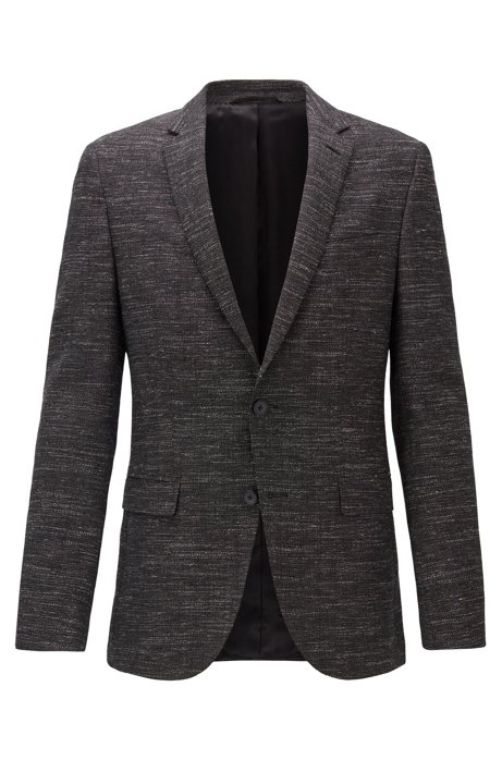 Slim-fit jacket in a virgin-wool blend, Anthracite