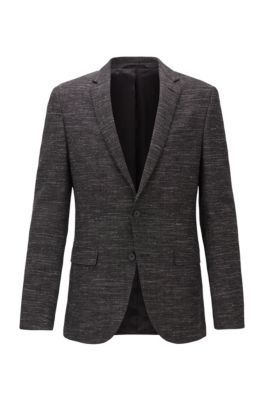 Giacca slim fit in misto lana vergine, Grigio scuro