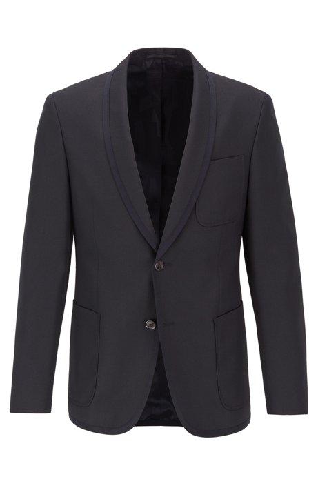 Veste Slim Fit à col châle et bordures contrastantes, Bleu foncé