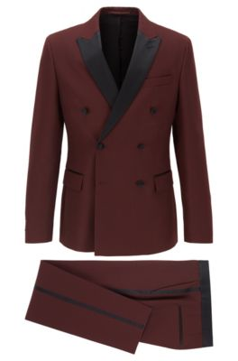 Traje slim fit con chaqueta cruzada y detalles de seda, Rojo oscuro