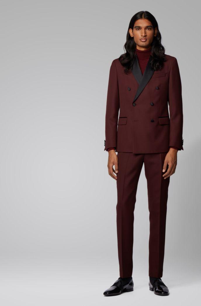 Costume Slim Fit avec veste croisée et détails en soie