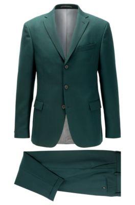Slim-Fit Anzug mit Drei-Knopf-Leiste, Dunkelgrün