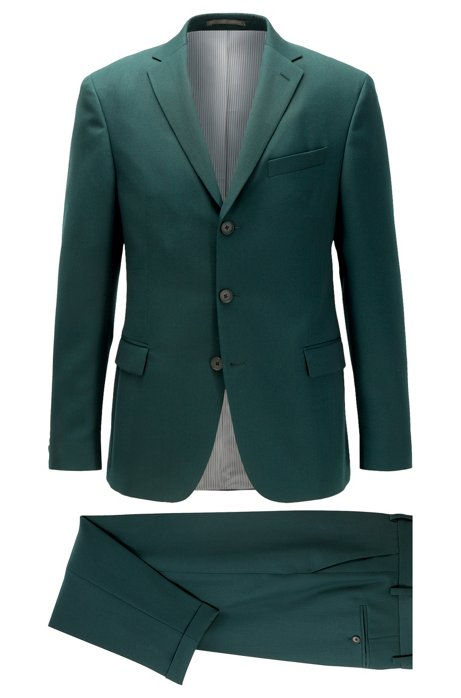 Slim-fit suit with three-button jacket, Dark Green