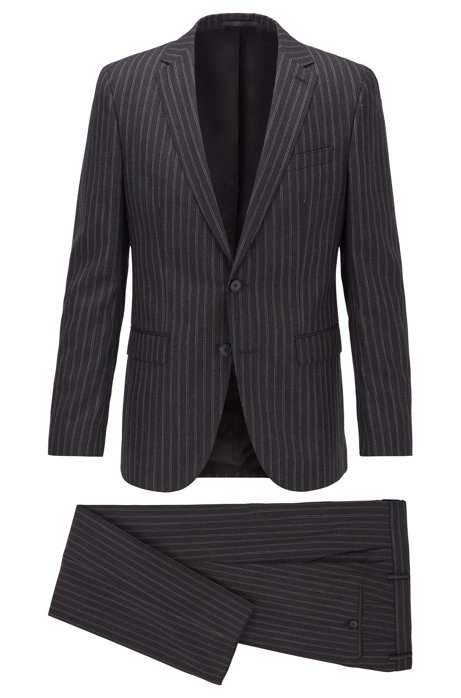 Slim-fit suit in striped virgin wool, Black