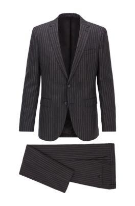 Slim-fit kostuum van gestreepte scheerwol, Zwart