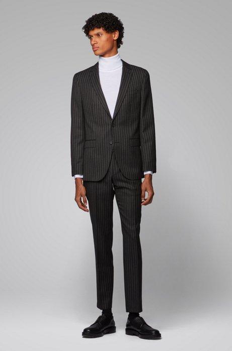 Gestreifter Slim-Fit Anzug aus Schurwolle, Schwarz