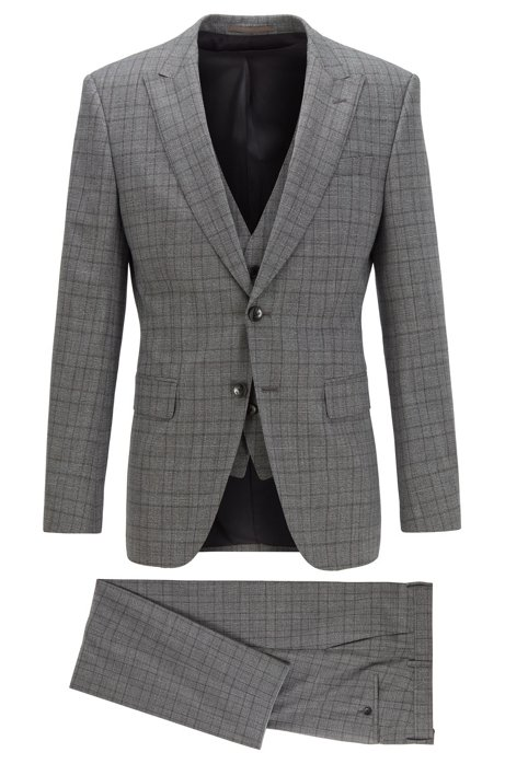 Slim-fit three-piece suit in checked stretch fabric, Dark Grey