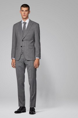 Slim-fit three-piece suit in checked stretch fabric, Light Grey