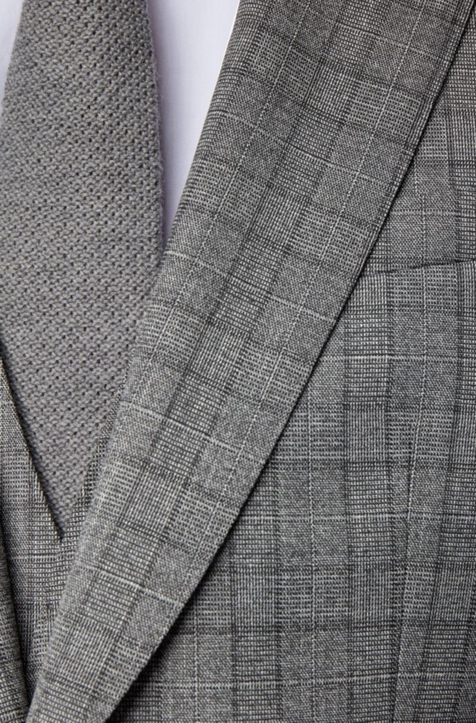 Slim-fit three-piece suit in checked stretch fabric