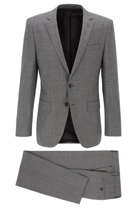 Slim-fit suit in micro-patterned wool, Dark Grey