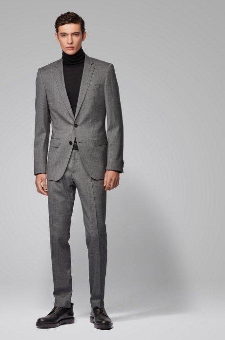 Slim-fit suit in micro-patterned wool, Dark Grey