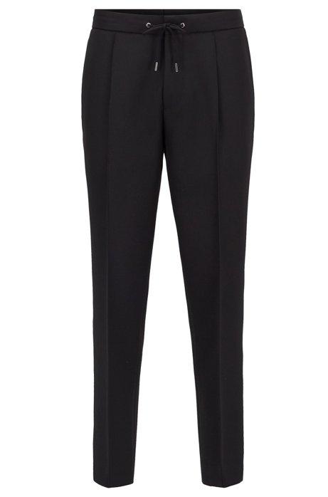 Kortere relaxed-fit broek met tailleband met trekkoord, Zwart
