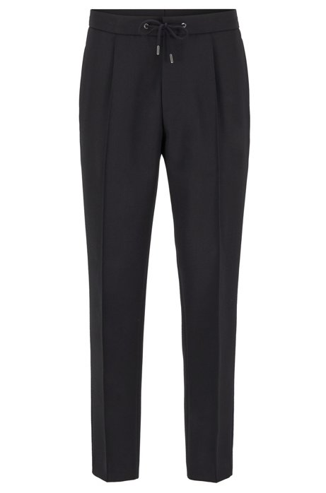 Relaxed-fit cropped trousers with drawstring waist, Dark Blue