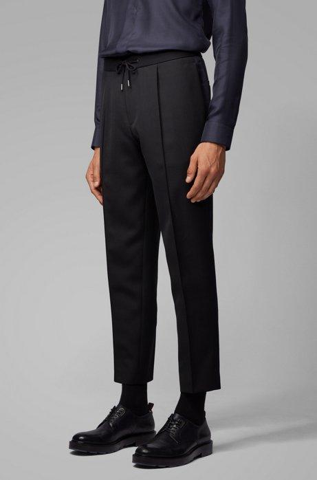 Pantalon Relaxed Fit court avec cordon de serrage à la taille, Bleu foncé
