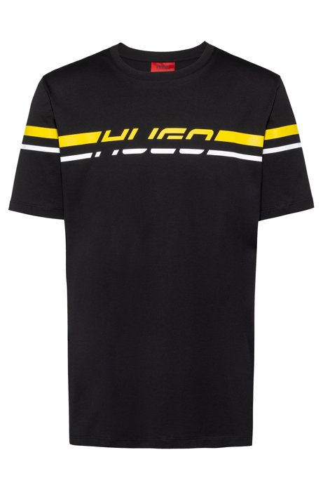 Regular-fit T-shirt with 80s-inspired logo print, Black