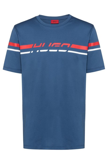 Regular-fit T-shirt with 80s-inspired logo print, Blue