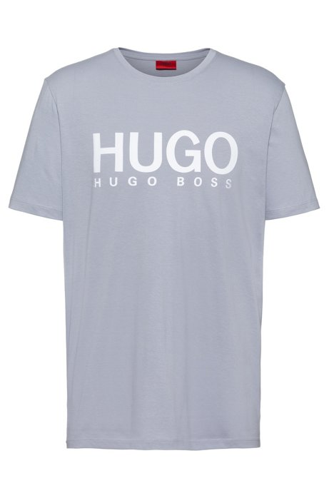 Crew-neck T-shirt with large-scale logo print, Light Grey