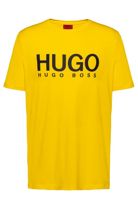 Crew-neck T-shirt with large-scale logo print, Yellow