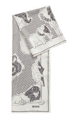 Pañuelo cuadrado fabricado en Italia en sarga de seda, Blanco