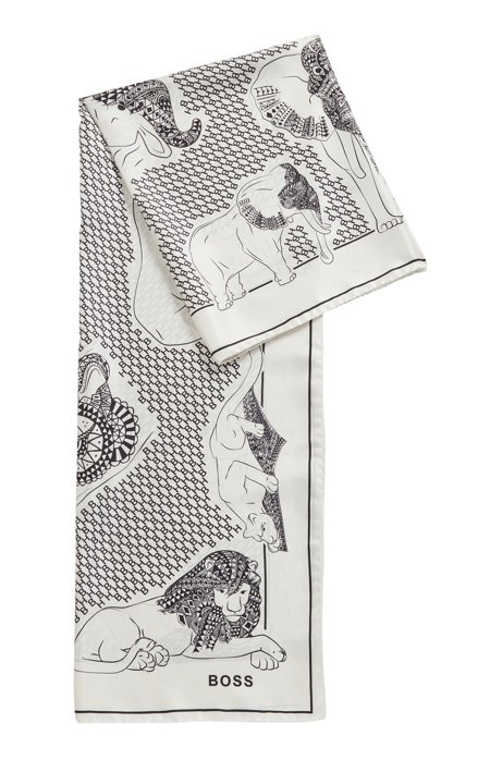Italian-crafted square scarf in silk twill, White