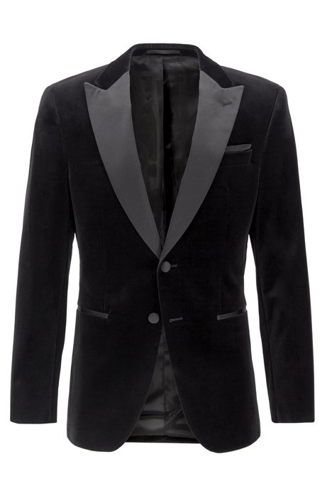 Slim-fit jacket with silk peak lapels, Black