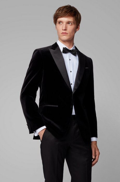 Veste Slim Fit avec revers en pointe en soie, Noir