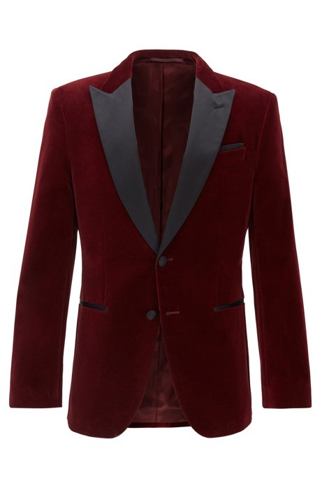 Slim-fit jacket with silk peak lapels, Dark Red