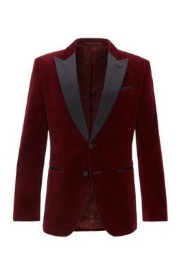 Veste Slim Fit avec revers en pointe en soie, Rouge sombre