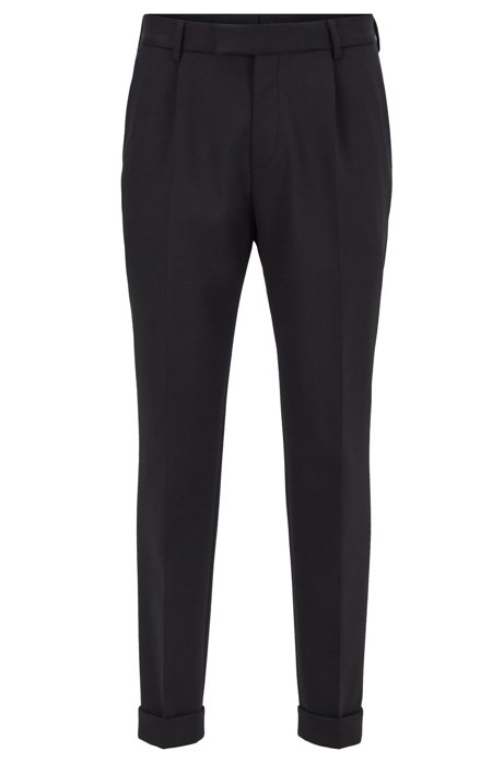 Cropped tapered-fit trousers with turn-ups, Black