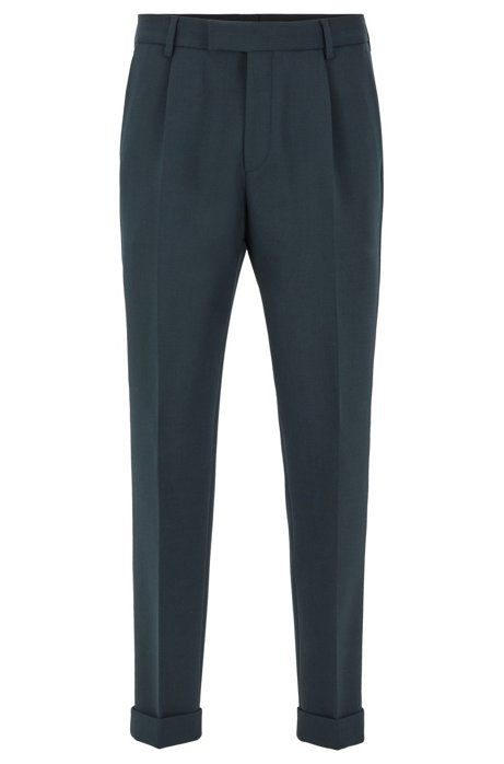 Cropped tapered-fit trousers with turn-ups, Open Green