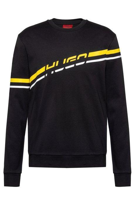 Sweatshirt aus Interlock-Baumwolle mit Streifen-Print und Logo, Schwarz