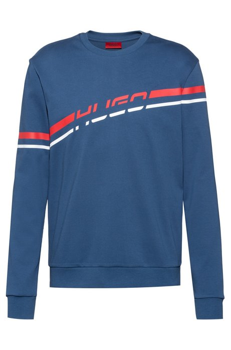 Logo sweatshirt in interlock cotton with printed stripe, Blue