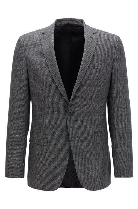 Slim-fit jacket in virgin wool with elbow patches, Grey