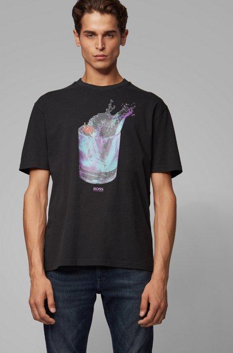T-shirt Relaxed Fit à imprimé photographique et en transfert, Noir