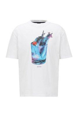 Camiseta relaxed fit con estampado fotográfico y metalizado, Blanco