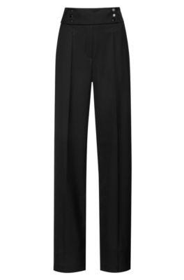 Pantalon Regular Fit à taille haute, Noir