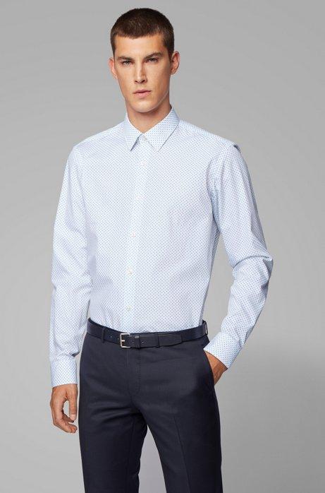 Regular-Fit Hemd aus Baumwoll-Popeline mit geometrischem Print, Weiß