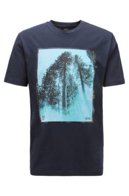 T-shirt a girocollo in cotone con stampa mista, Blu scuro