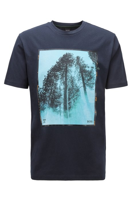 Crew-neck T-shirt in cotton with mixed-print artwork, Dark Blue