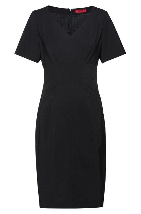 Pencil dress in crease-resistant stretch wool, Black