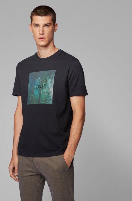Camiseta de algodón con estampado gráfico de la colección, Negro