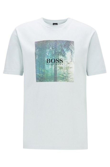 Cotton T-shirt with collection-themed graphic print, White
