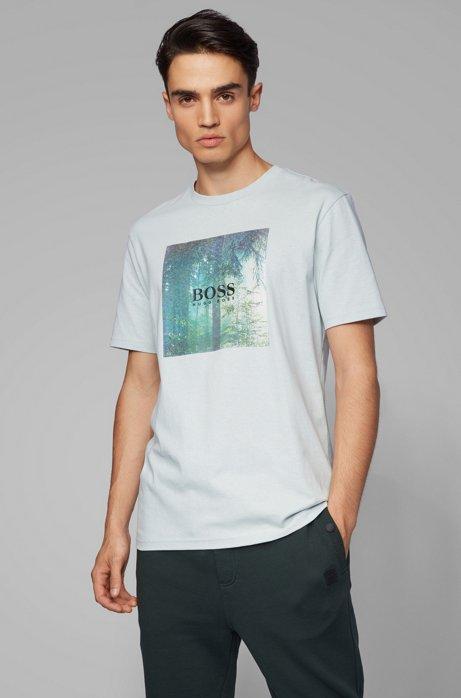 T-shirt en coton à imprimé graphique emblématique de la collection, Blanc