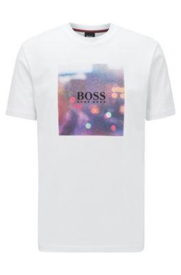 T-shirt in cotone con stampa grafica ispirata al tema della collezione, Bianco