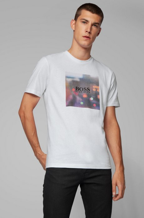 T-Shirt aus Baumwolle mit Grafik-Print der Kollektion, Weiß