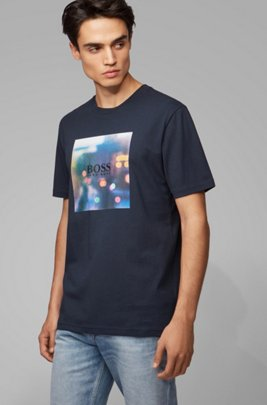 Cotton T-shirt with collection-themed graphic print, Dark Blue