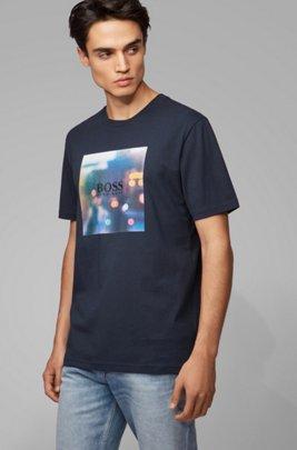 T-Shirt aus Baumwolle mit Grafik-Print der Kollektion, Dunkelblau