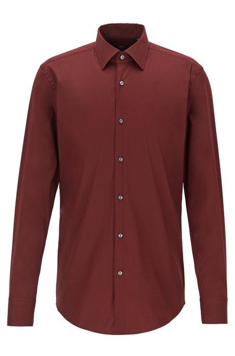 Slim-fit shirt in premium poplin with Kent collar, Dark Red